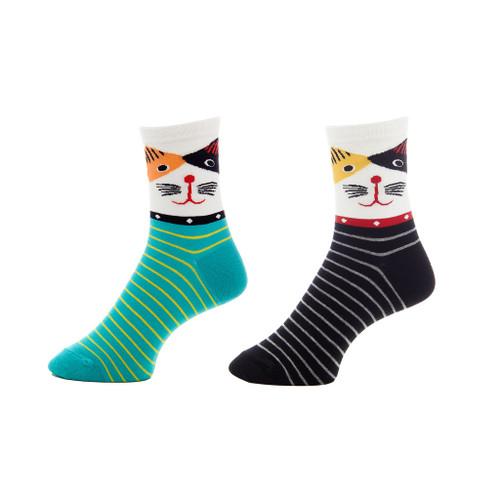 Disco In-Fur-No Ladies Cat Crew Socks Set of 2