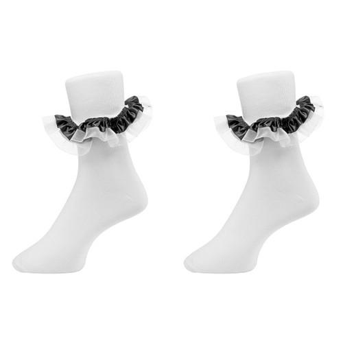 Fancy Satin Shimmer Organza Ruffle Bobby Socks Set of  2