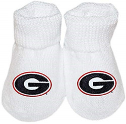 Big Game Baby Booties  White UGA in a box