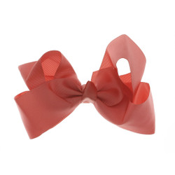 Greatlookz Coral Grosgrain Hair Bow with Extra Large Clip
