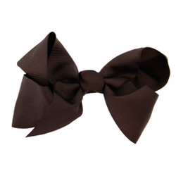 Greatlookz Dark Brown Grosgrain Hair Bow with Extra Large Clip
