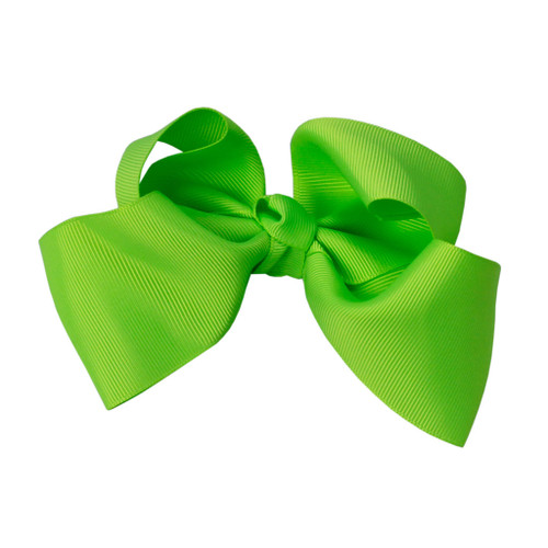 Greatlookz Neon Green Grosgrain Hair Bow with Extra Large Clip