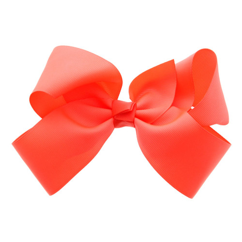 Greatlookz Neon Orange Grosgrain Hair Bow with Extra Large Clip