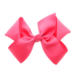 Greatlookz Neon Pink Grosgrain Hair Bow with Extra Large Clip