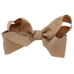 Greatlookz Tan Grosgrain Hair Bow with Extra Large Clip