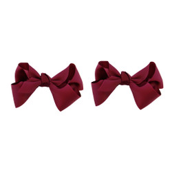 Burgundy Wine Grosgrain Hair Bows with XL Alligator Clip Set of 2