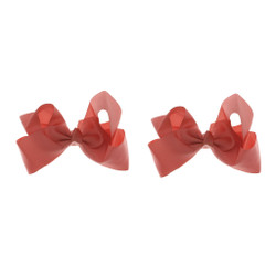 Coral Grosgrain Hair Bows with XL Alligator Clip Set of 2
