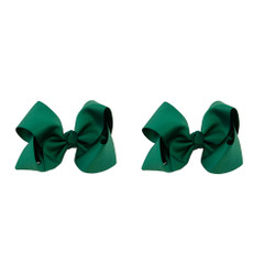 Hunter Green Grosgrain Hair Bows with XL Alligator Clip Set of 2