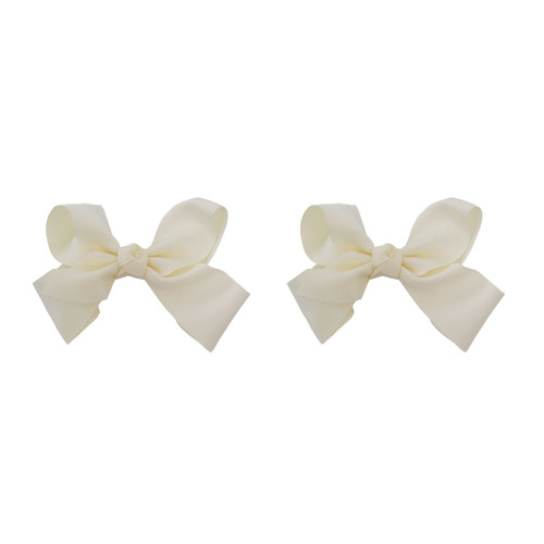 Ivory Grosgrain Hair Bows with XL Alligator Clip Set of 2