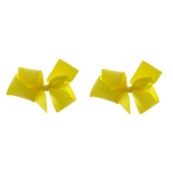 Lemon Chiffon Grosgrain Hair Bows with XL Alligator Clip Set of 2