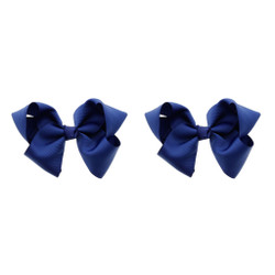 Midnight Blue Grosgrain Hair Bows with XL Alligator Clip Set of 2