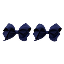 Navy Blue Grosgrain Hair Bows with XL Alligator Clip Set of 2
