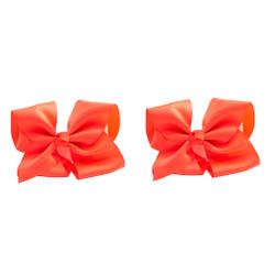 Neon Orange Grosgrain Hair Bows with XL Alligator Clip Set of 2