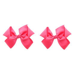 Neon Pink Grosgrain Hair Bows with XL Alligator Clip Set of 2