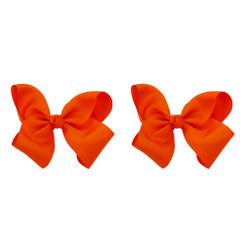 Orange Grosgrain Hair Bows with XL Alligator Clip Set of 2