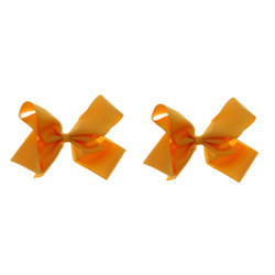 Orange Sherbet Grosgrain Hair Bows with XL Alligator Clip Set of 2