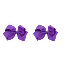 Purple Grosgrain Hair Bows with XL Alligator Clip Set of 2