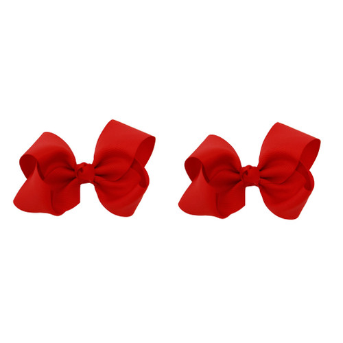 Red Grosgrain Hair Bows with XL Alligator Clip Set of 2