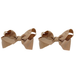 Tan Grosgrain Hair Bows with XL Alligator Clip Set of 2