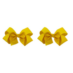 Yellow Grosgrain Hair Bows with XL Alligator Clip Set of 2