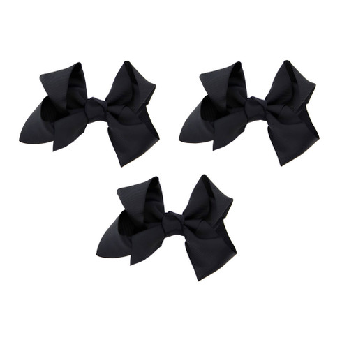 Black Grosgrain Hair Bows with XL Alligator Clip Set of 3