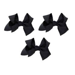 Black Grosgrain Hair Bows with XL Alligator Clip Set of 3