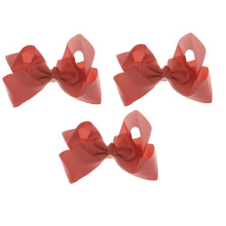 Coral Grosgrain Hair Bows with XL Alligator Clip Set of 3