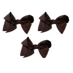 Dark Brown Grosgrain Hair Bows with XL Alligator Clip Set of 3