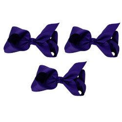 Dark Purple Grosgrain Hair Bows with XL Alligator Clip Set of 3
