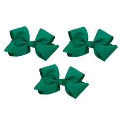 Emerald Green Grosgrain Hair Bows with XL Alligator Clip Set of 3