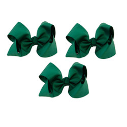 Hunter Green Grosgrain Hair Bows with XL Alligator Clip Set of 3