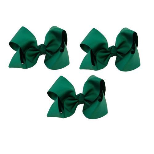 Hunter Green Grosgrain Hair Bows with XL Alligator Clip Set of 3