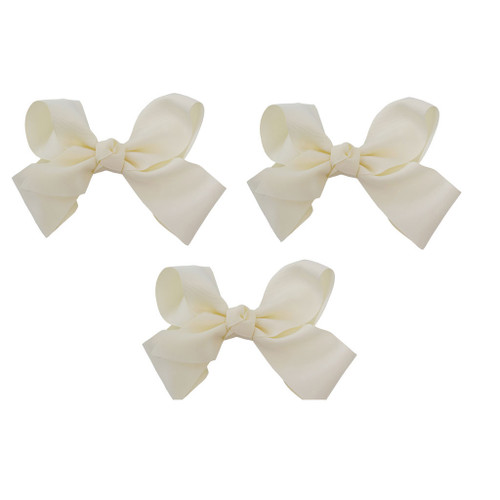 Ivory Grosgrain Hair Bows with XL Alligator Clip Set of 3