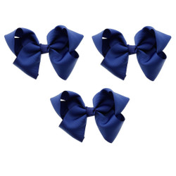 Midnight Blue Grosgrain Hair Bows with XL Alligator Clip Set of 3