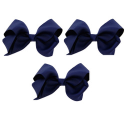 Navy Blue Grosgrain Hair Bows with XL Alligator Clip Set of 3