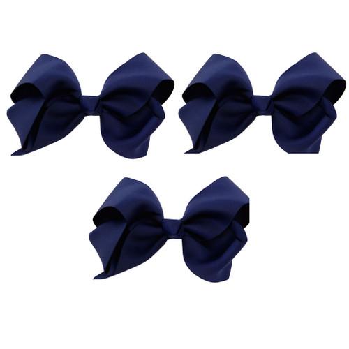 Navy Blue Grosgrain Hair Bows with XL Alligator Clip Set of 3