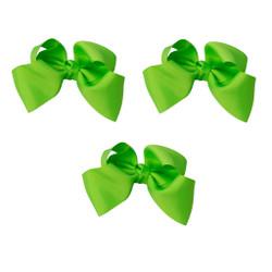 Neon Green Grosgrain Hair Bows with XL Alligator Clip Set of 3