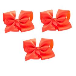 Neon Orange Grosgrain Hair Bows with XL Alligator Clip Set of 3