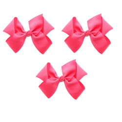 Neon Pink Grosgrain Hair Bows with XL Alligator Clip Set of 3