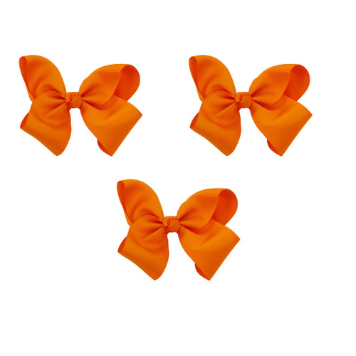 Orange Grosgrain Hair Bows with XL Alligator Clip Set of 3