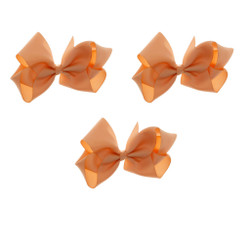 Peach Grosgrain Hair Bows with XL Alligator Clip Set of 3