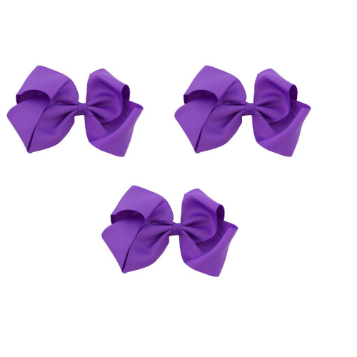 Purple Grosgrain Hair Bows with XL Alligator Clip Set of 3