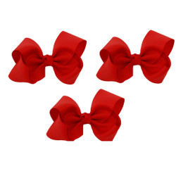 Red Grosgrain Hair Bows with XL Alligator Clip Set of 3