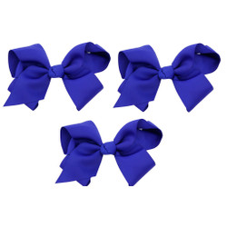 Royal Blue Grosgrain Hair Bows with XL Alligator Clip Set of 3