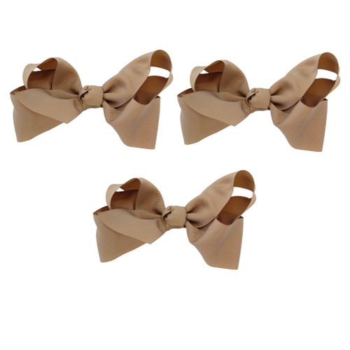Tan Grosgrain Hair Bows with XL Alligator Clip Set of 3