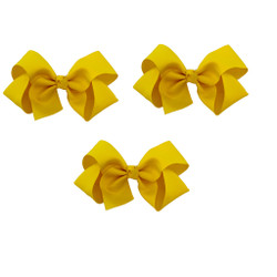 Yellow Grosgrain Hair Bows with XL Alligator Clip Set of 3
