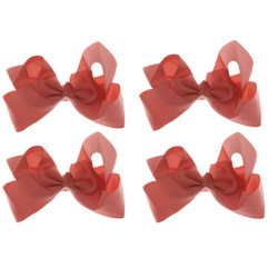 Coral Grosgrain Hair Bows with XL Alligator Clip Set of 4