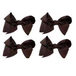 Dark Brown Grosgrain Hair Bows with XL Alligator Clip Set of 4