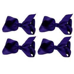 Dark Purple Grosgrain Hair Bows with XL Alligator Clip Set of 4
