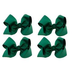 Hunter Green Grosgrain Hair Bows with XL Alligator Clip Set of 4